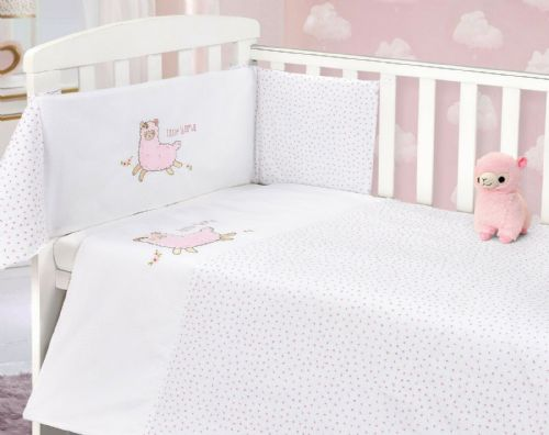 BABY COT NURSERY BEDDING 100% COTTON  2PC BALE COT QUILT & BUMPER PINK LLAMA